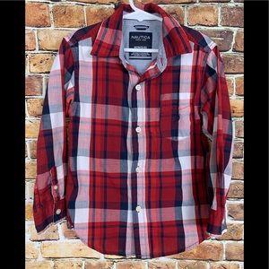 Nautica Boys Red, White & Blue Plaid Shirt Sz 5/6
